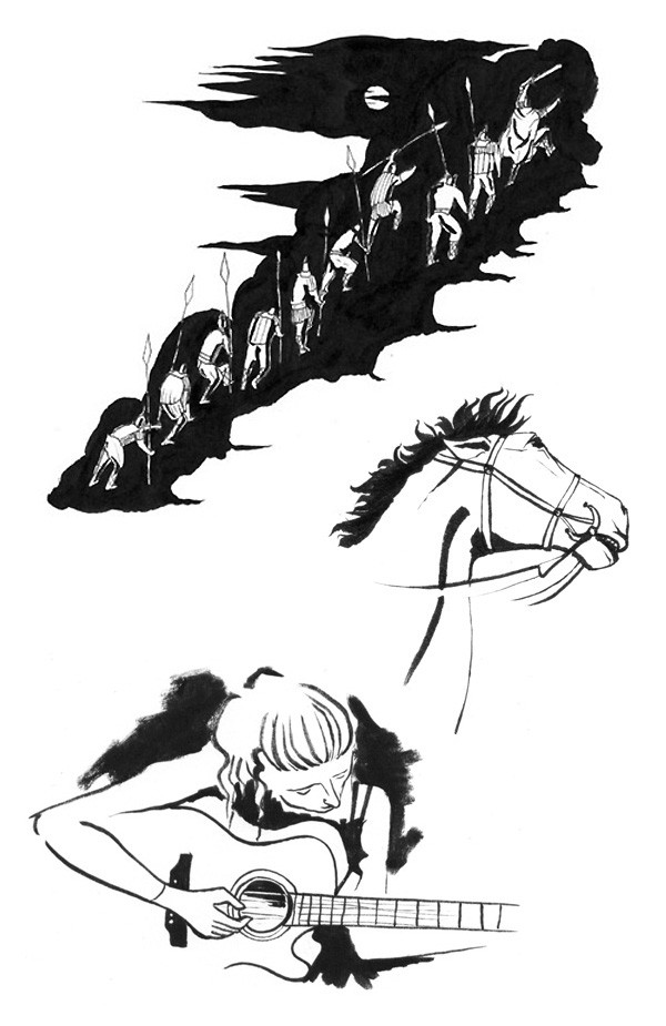 B&W brush pen drawings