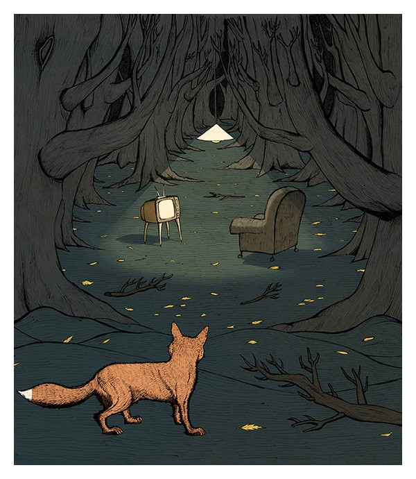 Fox in Woods print